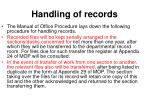 handling of records