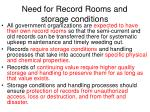 need for record rooms and storage conditions