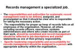 records management a specialized job