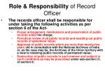 role responsibility of record officer