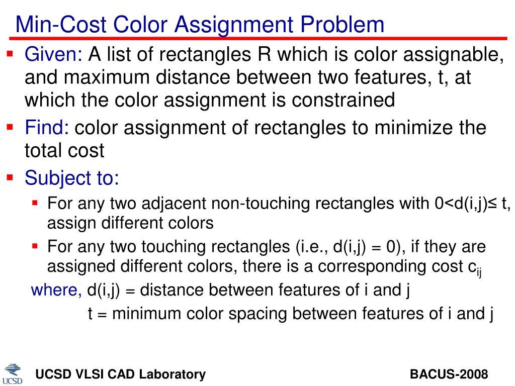 Min-Cost Color Assignment Problem