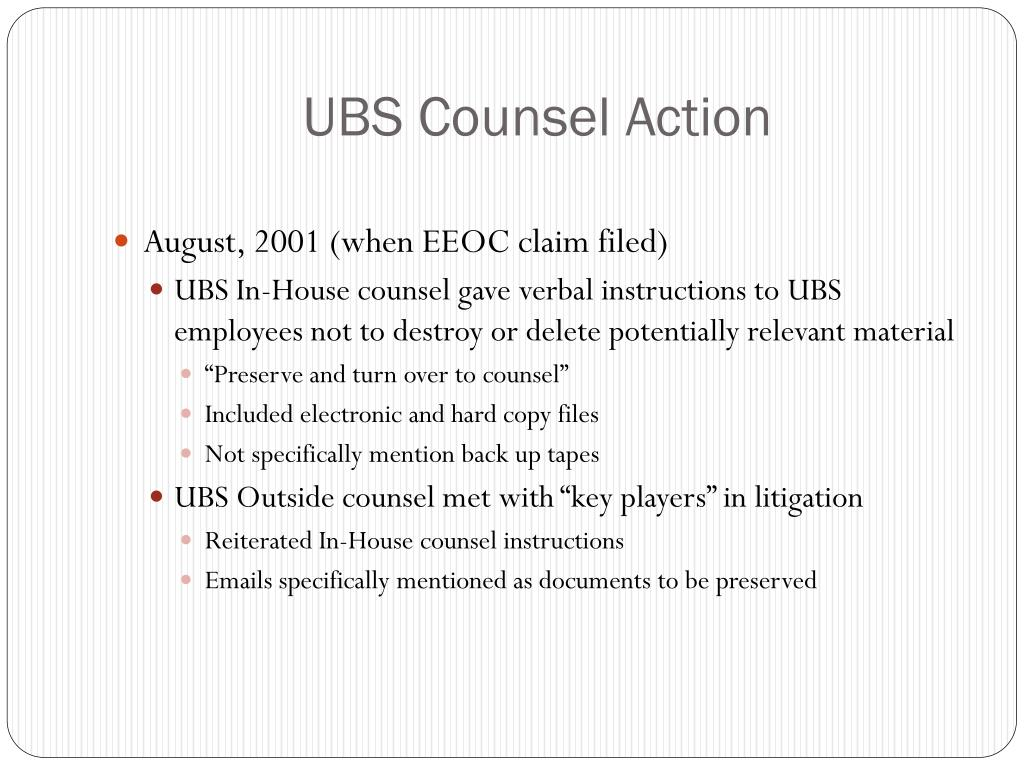 UBS Counsel Action