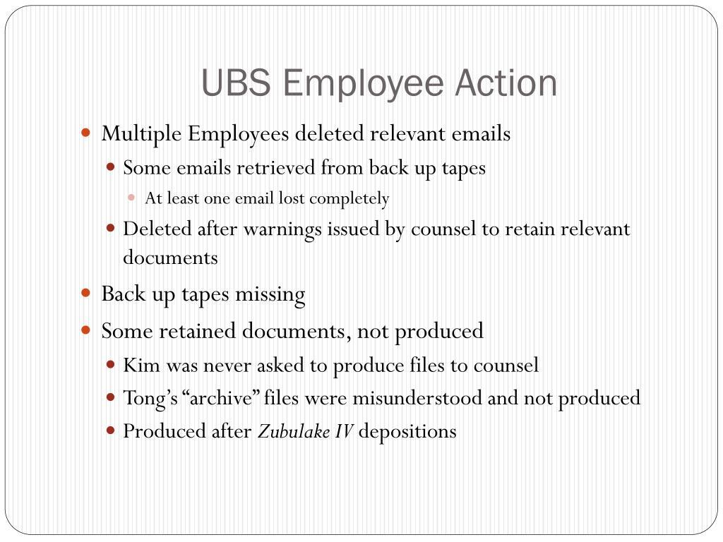 UBS Employee Action