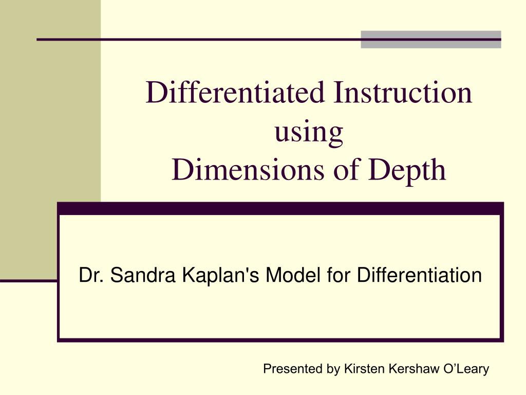 differentiated instruction using dimensions of depth l.
