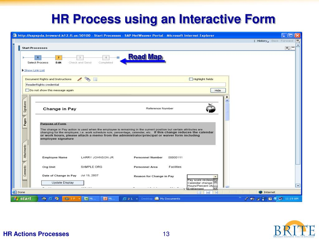 HR Process using an Interactive Form