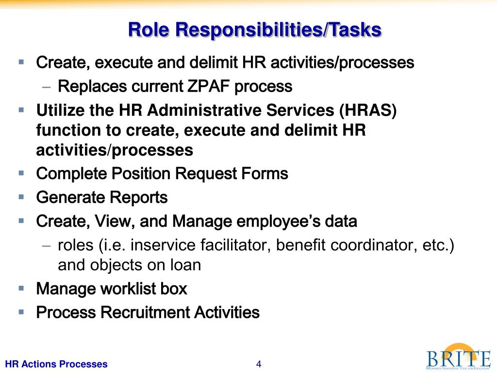 Role Responsibilities/Tasks