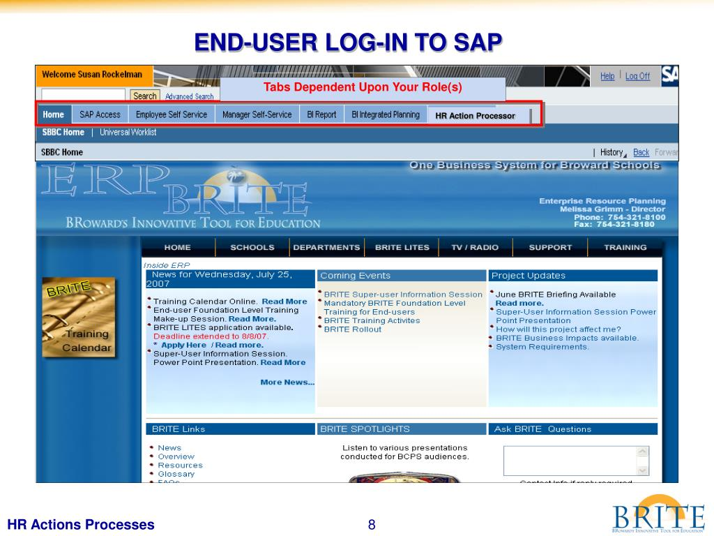 END-USER LOG-IN TO SAP