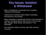 key issues isolation withdrawal