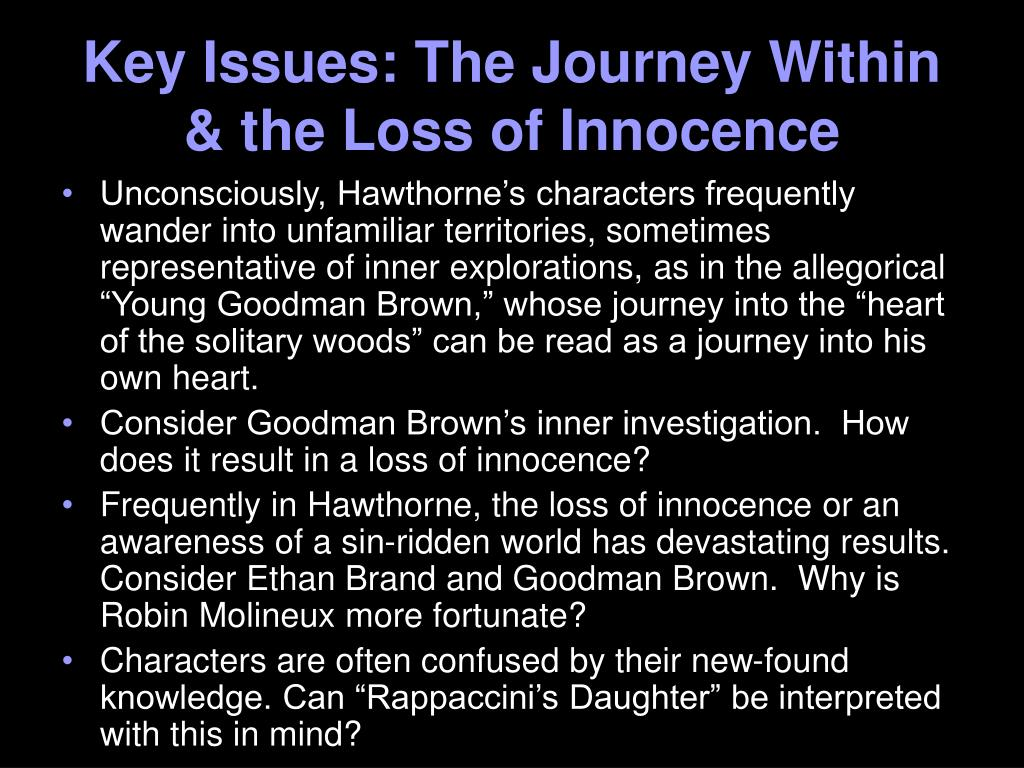 the loss of innocence in young goodman brown a short story by nathaniel hawthorne