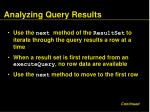 analyzing query results