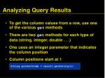 analyzing query results87