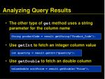 analyzing query results88