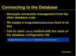 connecting to the database