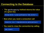connecting to the database75
