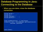 database programming in java connecting to the database71