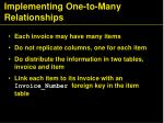 implementing one to many relationships