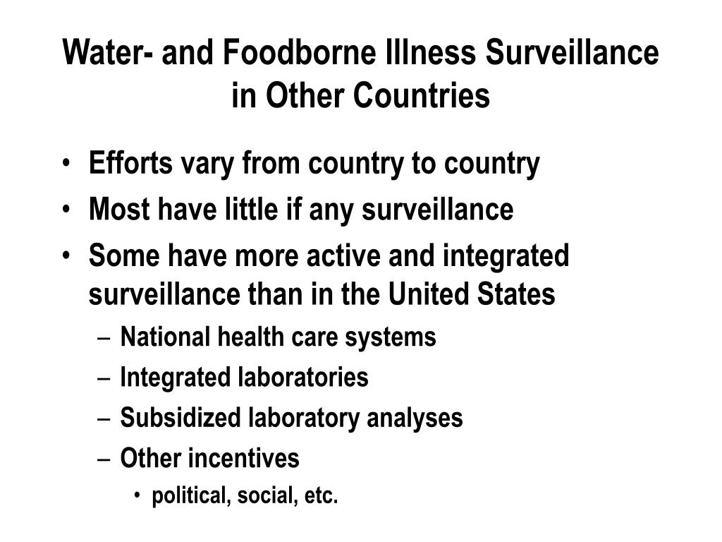 Water- and Foodborne Illness Surveillance in Other Countries