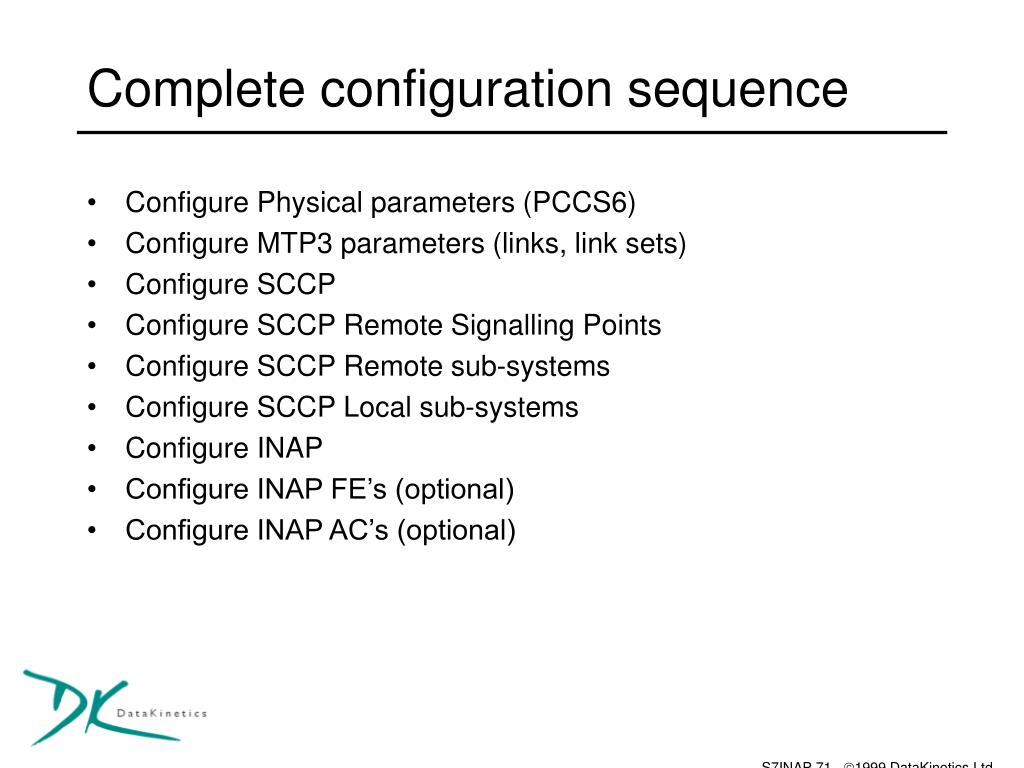 Complete configuration sequence