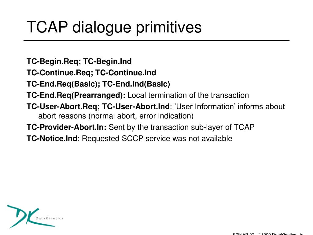 TCAP dialogue primitives