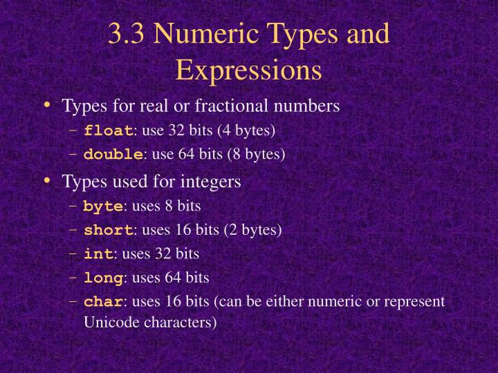 3.3 Numeric Types and Expressions
