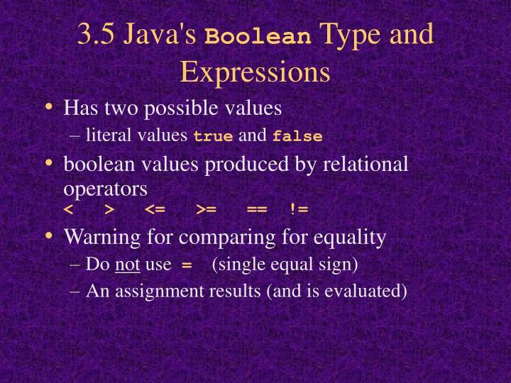 3.5 Java's