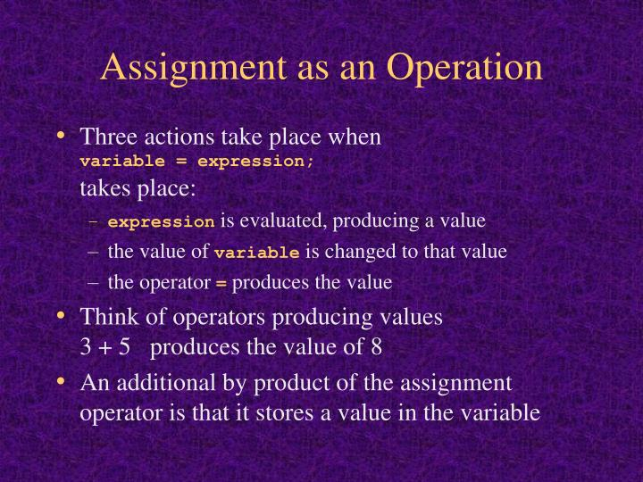 Assignment as an Operation