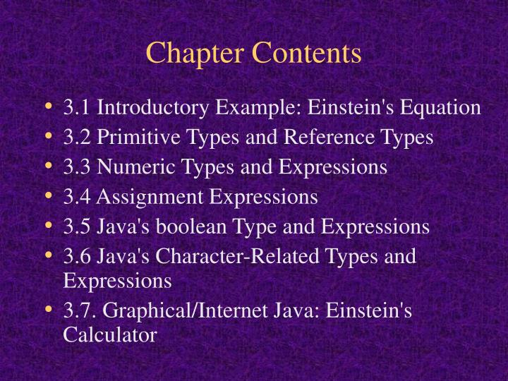 Chapter contents