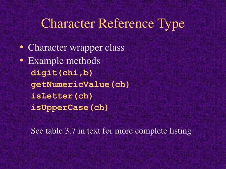 Character Reference Type