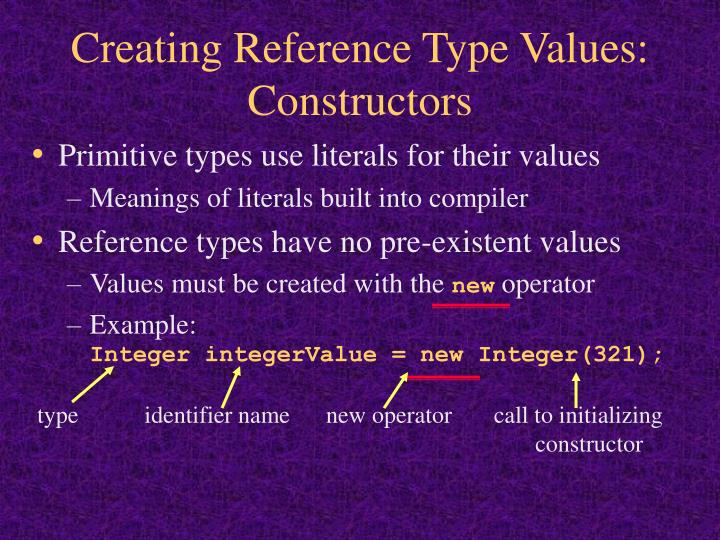 type           identifier name      new operator       call to initializing