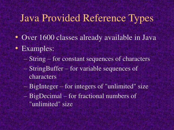 Java Provided Reference Types