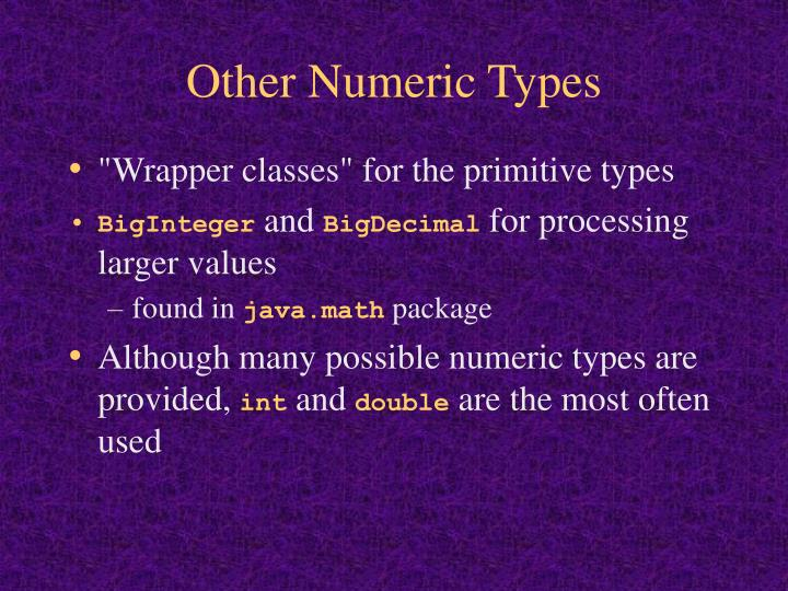 Other Numeric Types