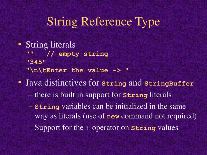 String Reference Type
