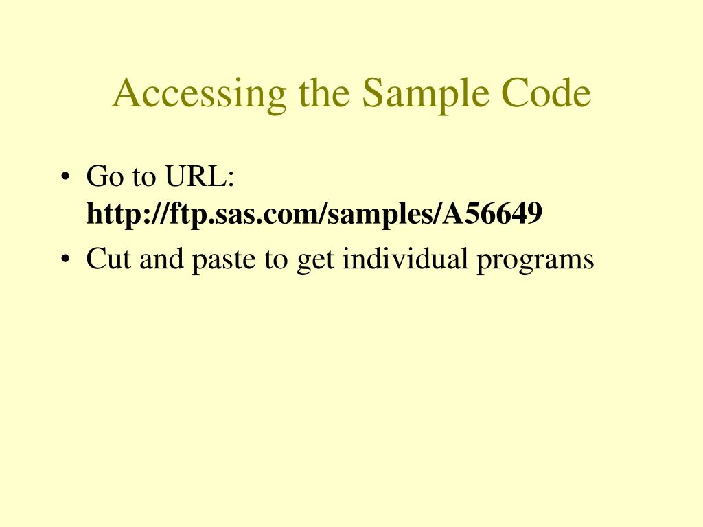 Accessing the Sample Code