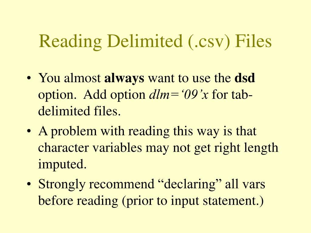 Reading Delimited (.csv) Files