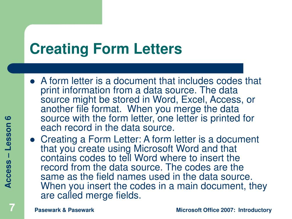 Creating Form Letters