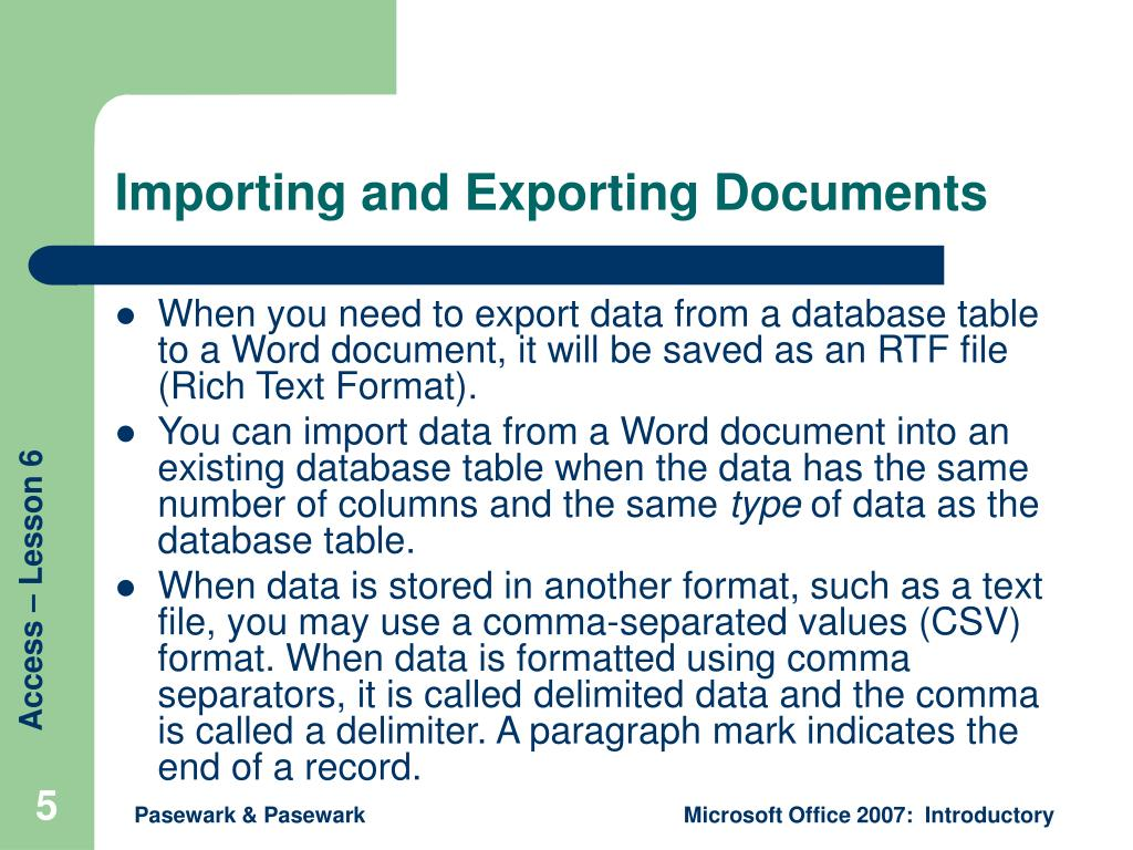 Importing and Exporting Documents