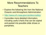 more recommendations to teachers
