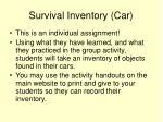 survival inventory car