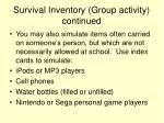 survival inventory group activity continued35