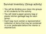 survival inventory group activity