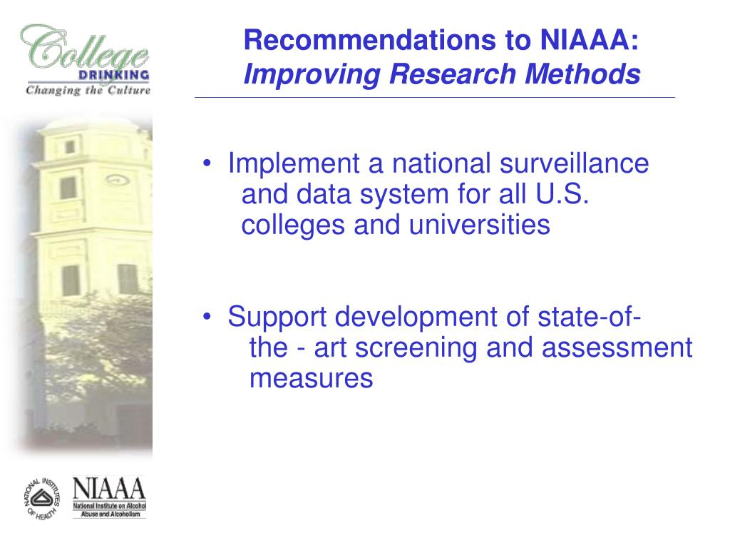 Recommendations to NIAAA: