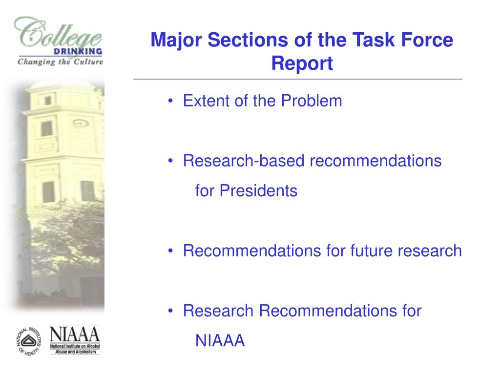 Major Sections of the Task Force Report
