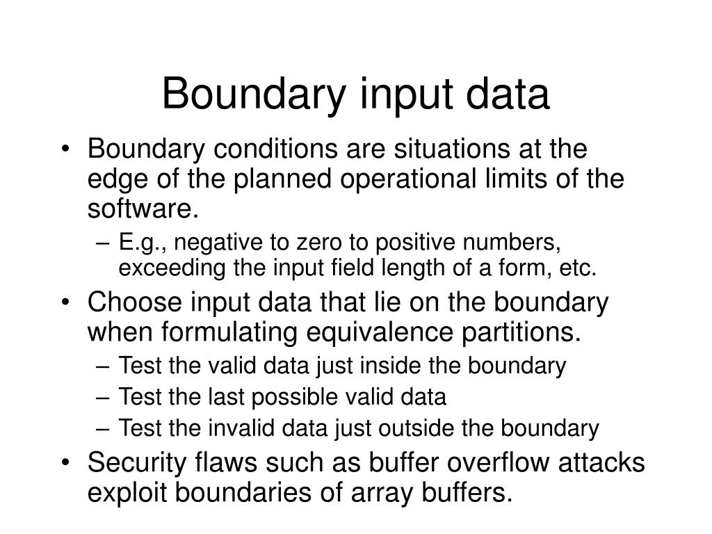 Boundary input data