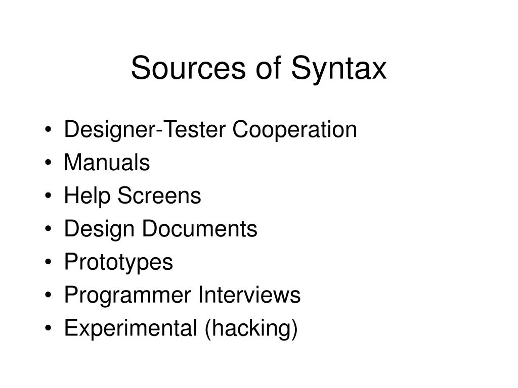 Sources of Syntax