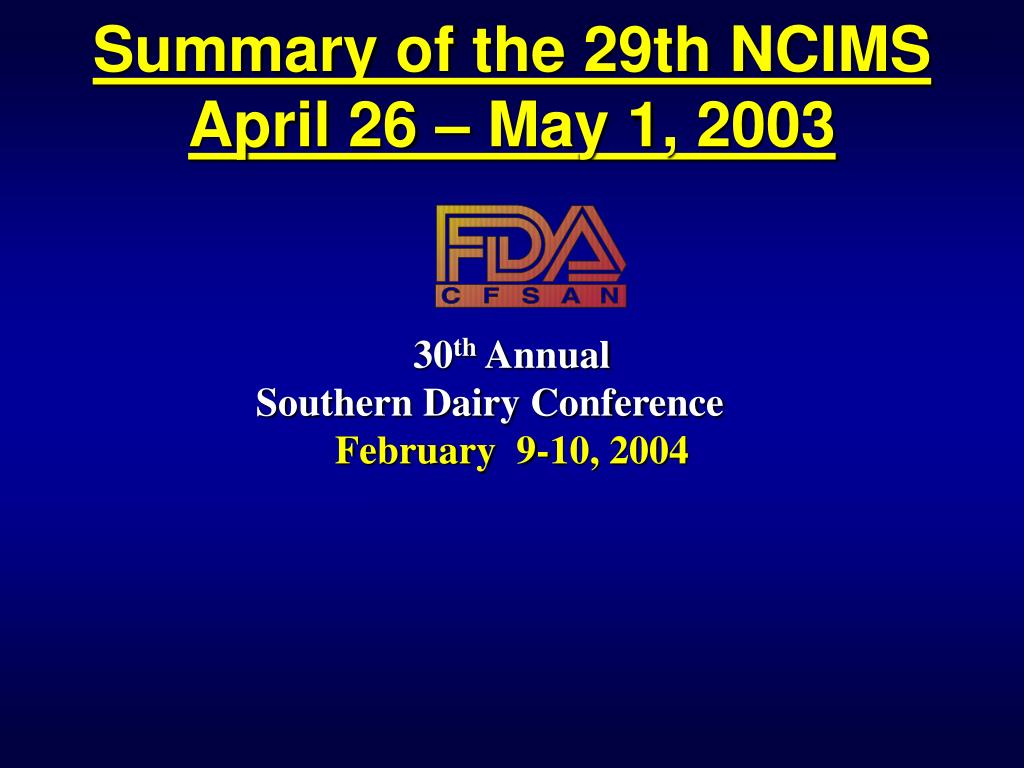 summary of the 29th ncims april 26 may 1 2003 l.