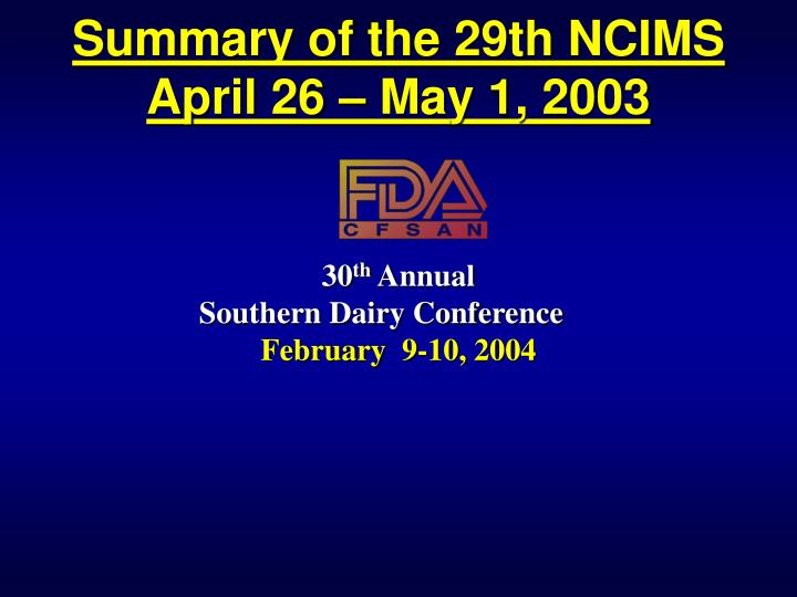 summary of the 29th ncims april 26 may 1 2003 n.