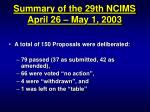 summary of the 29th ncims april 26 may 1 20032