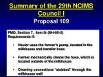 summary of the 29th ncims council i12