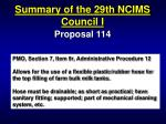 summary of the 29th ncims council i14