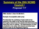 summary of the 29th ncims council i16